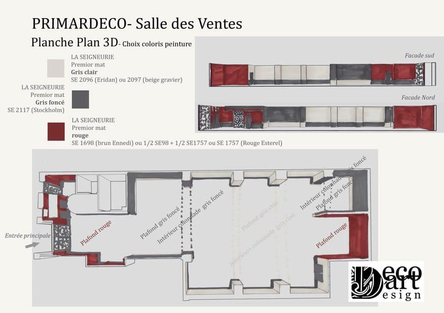 salle des ventes primardeco planche plan 3d decodart. Black Bedroom Furniture Sets. Home Design Ideas