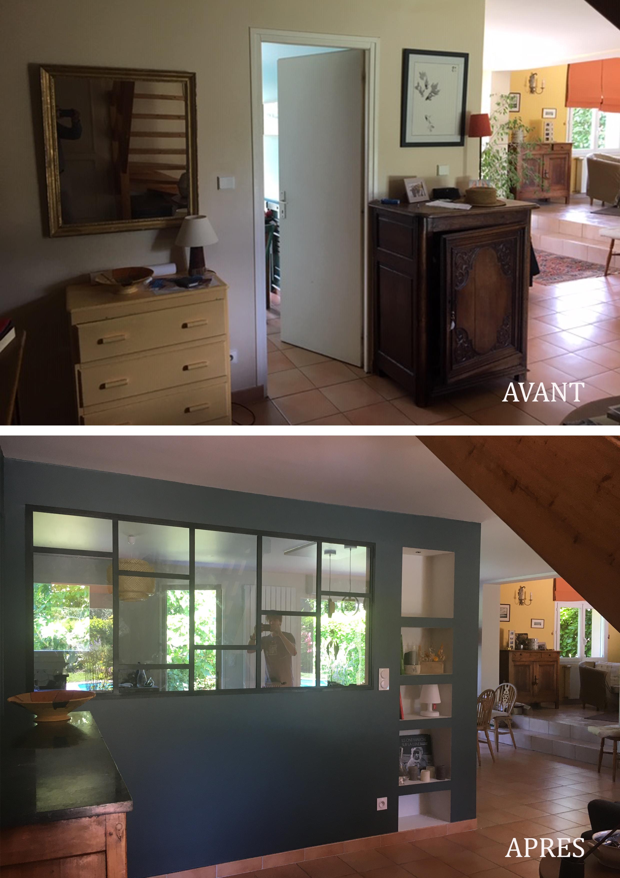 Ouverture de la cuisine vers la pièce à vivre avant/ après