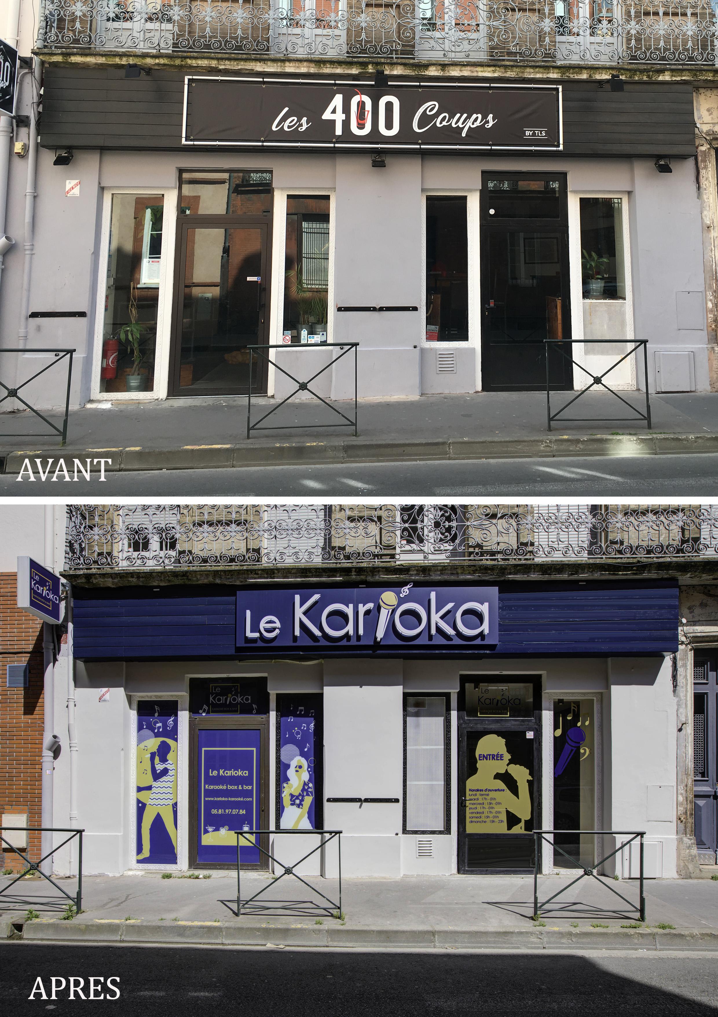 Avant après la façade du Bar Karioka