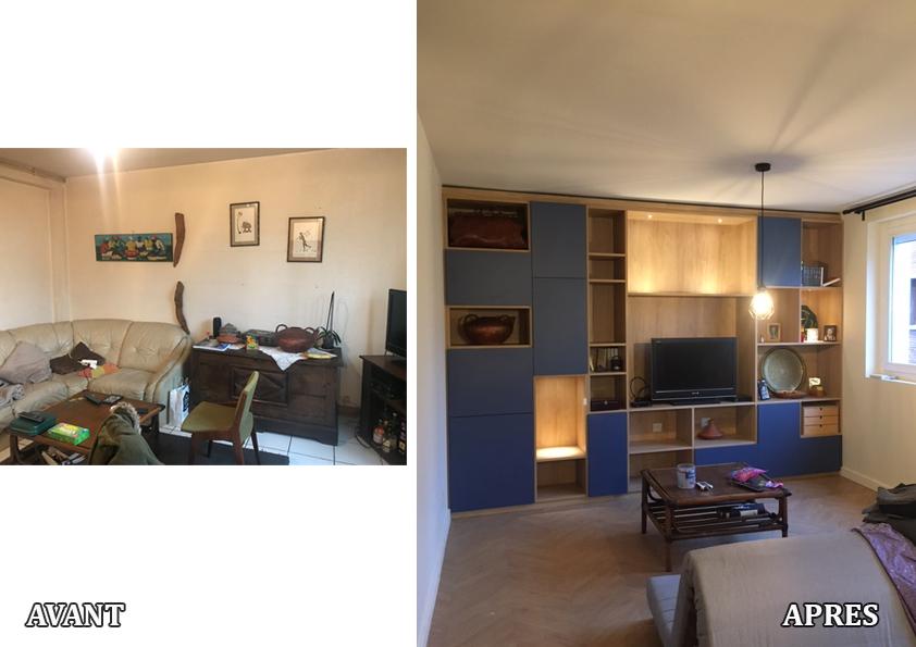 Rénovation globale d'un appartement des années 60, énergétique, décoratif, et d'aménagement 2020. Nous avons cassée une cloison entre le salon et la chambre. Parquet chauffant en épi