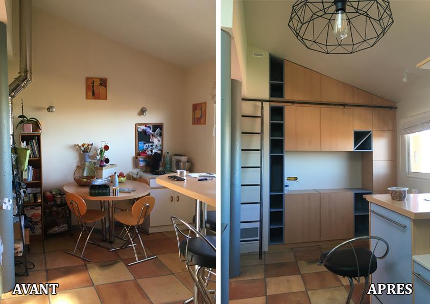 Rénovation d'une cuisine en conservant les meubles existants et création d'un meuble de rangement très fonctionnel