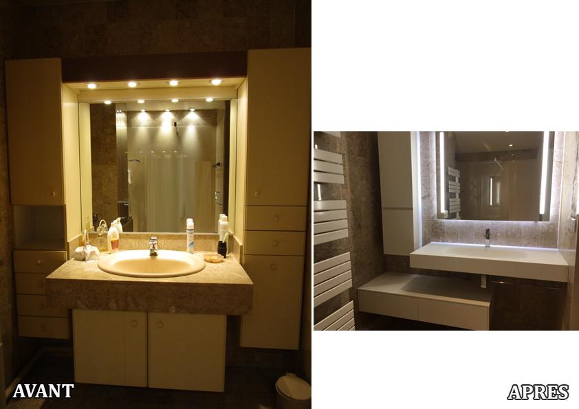 Rénovation d'une salle d'eau en conservant les matériaux nobles, mais en donnant une touche de modernité avec la vasque et les meubles de rangement.