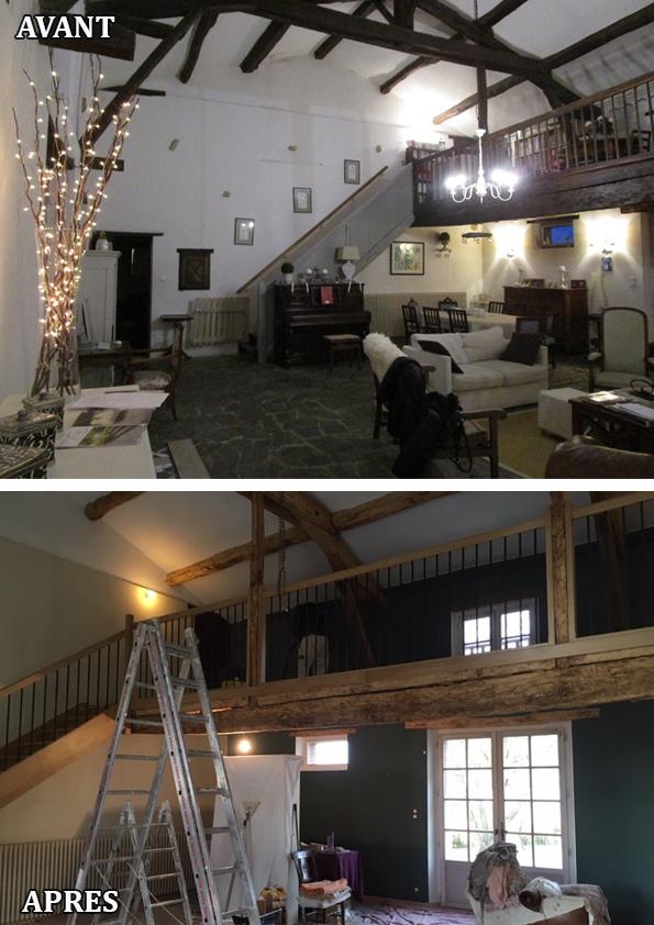 Rénovation une ferme lauragaise du sol au plafond, travertin au sol et murs à la chaux, sablage des poutres