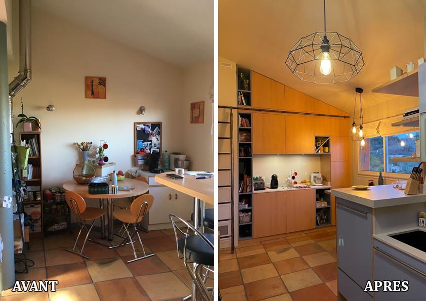 Création d'un meuble de cuisine sur mesure, dans les teintes de la cuisine existante et remplacement du plan de travail.
